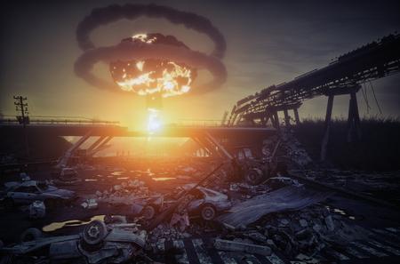 Paysage de catastrophe de guerre nucléaire.
