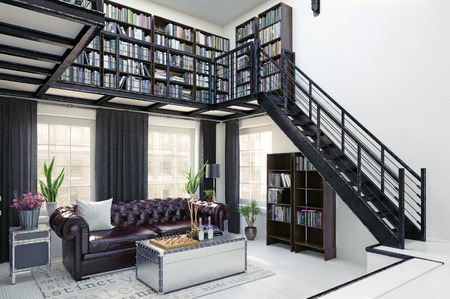 Home library interior design.