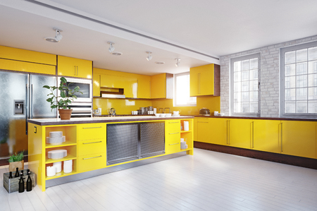 Modern yellow color kitchen interior.