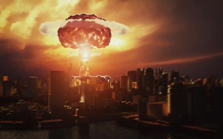 wybuch nuklearny nad miastem. Koncepcja renderowania 3D Zdjęcie Seryjne