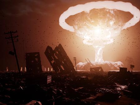 wybuch nuklearny nad zniszczonym miastem. Koncepcja renderowania 3D. Dodano szum i ziarno