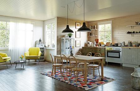 Intérieur de cuisine de style campagnard moderne. illustration de concept de conception 3D