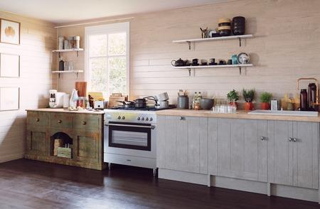 Modern country style kitchen interior. 3d design concept illustration Banque d'images - 111427366