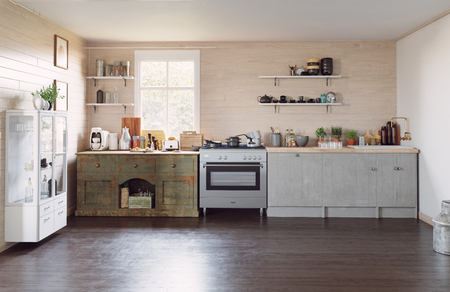Modern country style kitchen interior. 3d design concept illustration