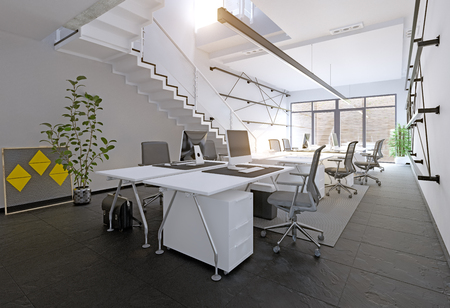 Modern office interior. 3D rendering concept 스톡 콘텐츠