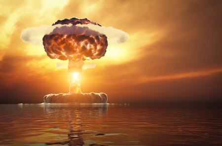 Explosión nuclear sobre el agua. Ilustración 3d