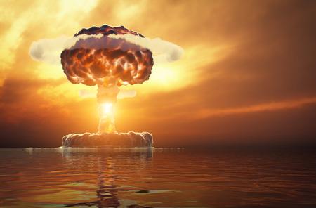 Kernexplosie boven het water. 3d illustratie