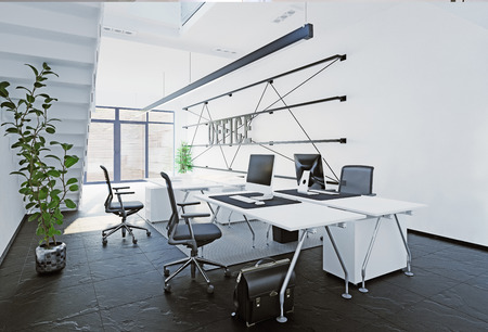 Modern office interior. 3D rendering concept 免版税图像