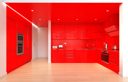 Modern red color kitchen interior. 3d rendering design concept 스톡 콘텐츠