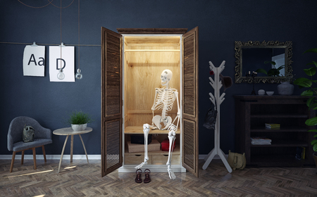 The skeleton in the closet. Creative conceptual idea. 3d rendering