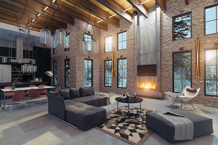 Modern luxury home interior with fireplace. 3d rendering design concept