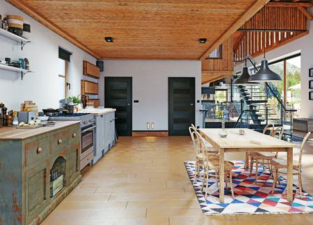 modern chalet interior. 3d design rendering concept Imagens