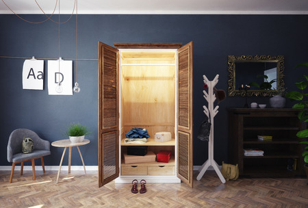 home closet with open doors interior. 3d rendering design concept 스톡 콘텐츠