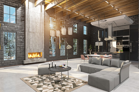 luxury home interior with fireplace. 3d rendering design concept 版權商用圖片