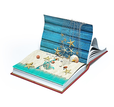 Open book with beach close up creative concept. 3d rendering idea