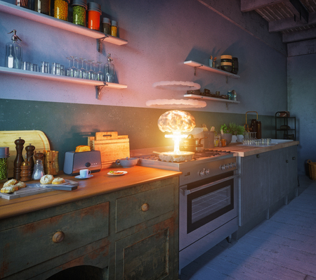Nuclear explosion on the kitchen pan. 3d creative concept rendering