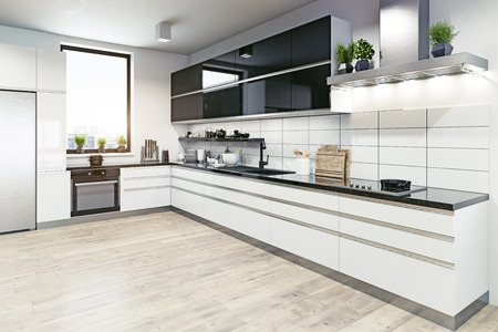 Modern kitchen interior. 3d rendering design concept