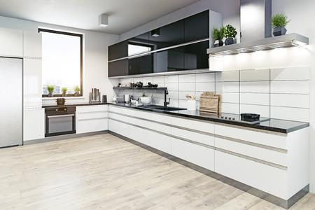 Modernes Kücheninterieur. 3D-Rendering-Designkonzept