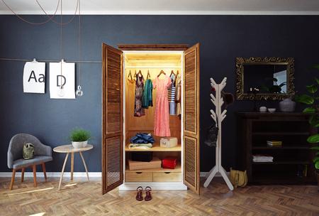 Home closet with open doors interior. 3d rendering design concept Stock Photo