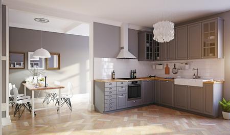Modern style design kitchen interior. 3d rendering concept