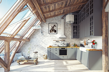 Modern attic kitchen interior. 3d rendering design concept Фото со стока