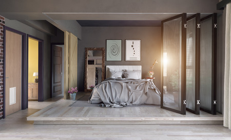 Modern bedroom interior zone partition concept. 3d rendering Foto de archivo