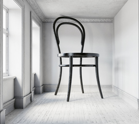Giant chair in the room. 3d rendering creative concept Reklamní fotografie