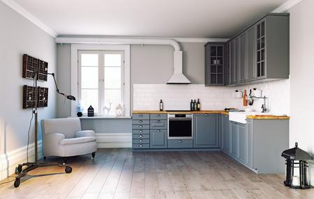 Kücheneinrichtung im modernen Stil. 3D-Rendering-Konzept Standard-Bild
