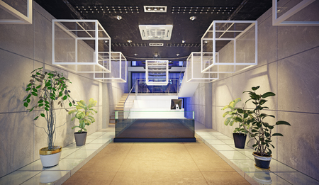 modern reception design concept. 3d rendering interior