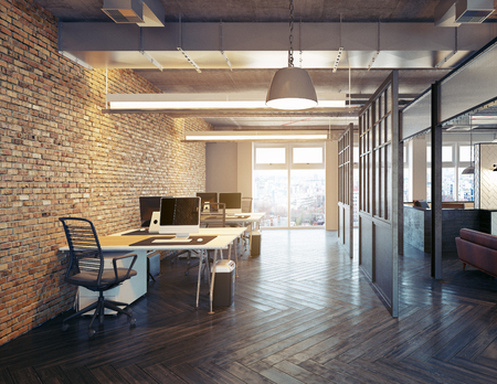 modern office interior design. Loft concept 3d rendering 写真素材