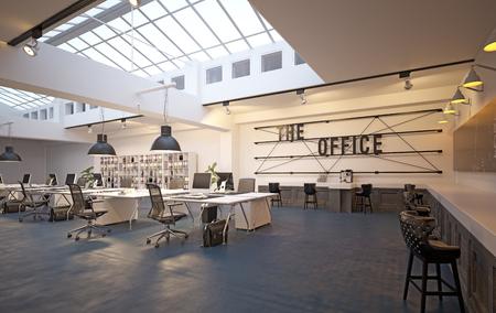 moderne Büroeinrichtung im Loft-Bereich. 3D-Rendering-Designkonzept