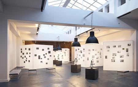 interno moderno della mostra del museo. Rendering del concetto di design 3D