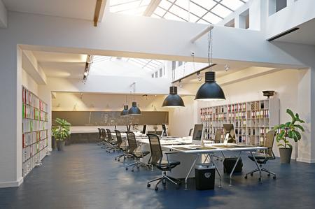 modern loft area office interior. 3d rendering design concept