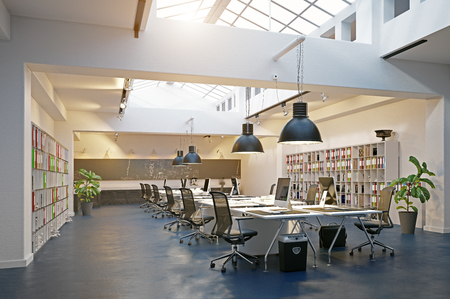 modern loft area office interior. 3d rendering design concept Imagens - 114214468