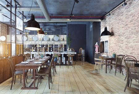 modern restaurantinterieur. 3D-renderingconcept Stockfoto
