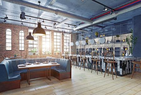 diseño de interiores de restaurante moderno. Concepto de renderizado 3d