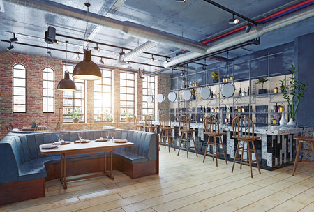 modern restaurant interior design. 3d rendering concept Stockfoto - 114218015