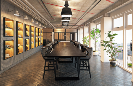 modern loft conference meeting room design. 3d rendering concept