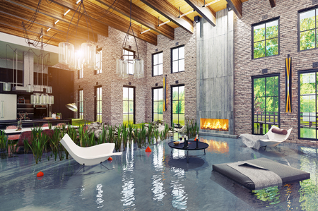 flooding house interior. 3d creative concept rendering