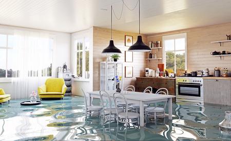 Die moderne Wohneinrichtung im Landhausstil. 3D-Rendering-Designkonzept Standard-Bild