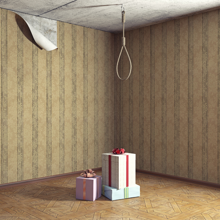 the gallows noose in the room and gift boxes as a step. 3d rendering concept