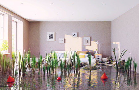 flooding living room. 3d creative concept rendering 스톡 콘텐츠