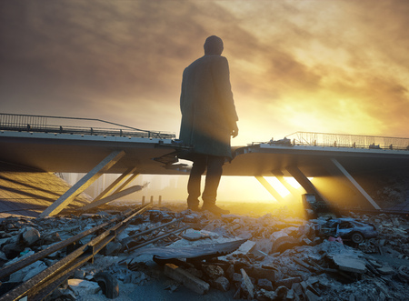 the Giant man in the destroyed city. 3d creative concept Stock Photo