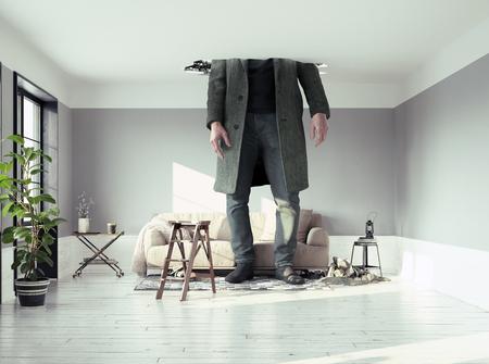 die Mannfigur, die die Decke im Wohnzimmer durchbricht. Foto- und Medienelemente kombiniert