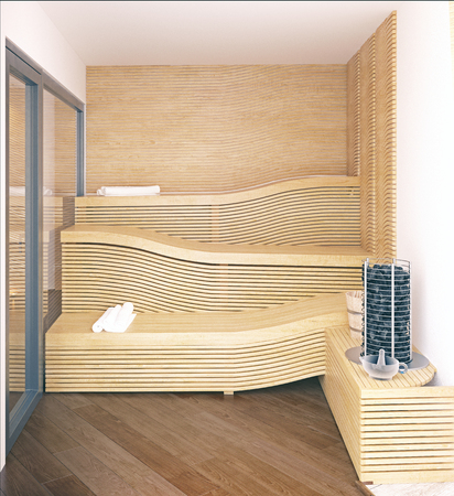 home spa sauna inteiror. 3d rendering design