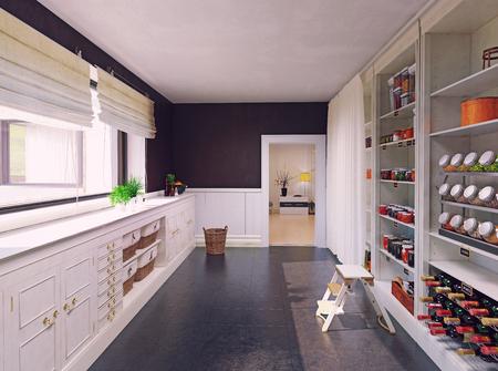 Diseño de interiores de despensa moderna. Concepto de renderizado 3d Foto de archivo