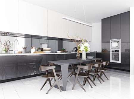 intérieur de cuisine moderne. Concept de rendu 3D