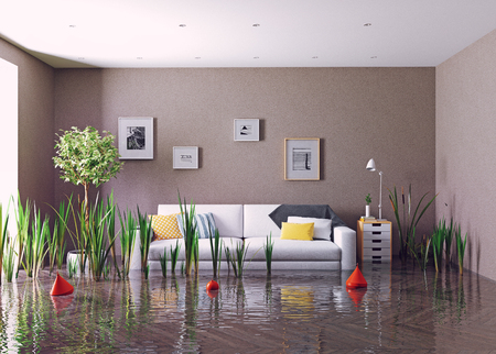 flooding living room. 3d creative concept rendering Фото со стока