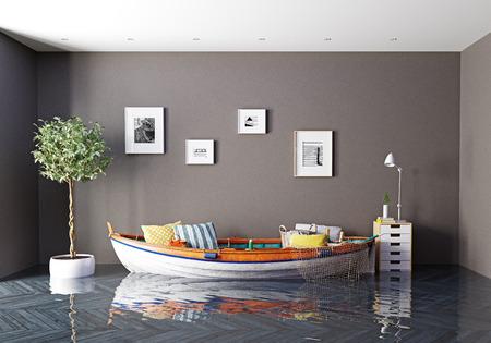 das Boot als Sofa im überfluteten Innenraum. Kreatives Konzept. 3D-Rendering