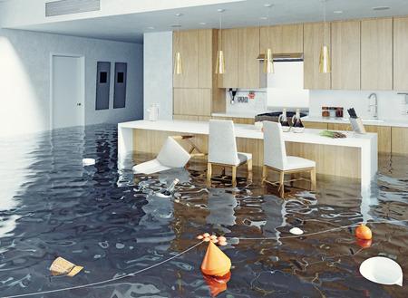 Überflutung des Kücheninnenraums. 3D-Rendering-Konzept